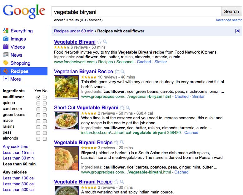 Google spustil novou funkci pro vyhledávání receptů